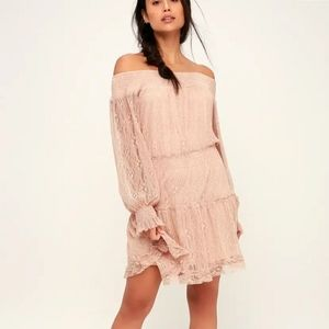 XS Lulus dreams of romance off the shoulder dress